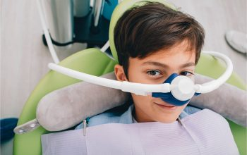 The dentist used nitrous oxide for the anxious kid.